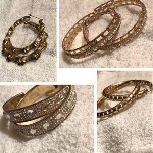 USED Cute Gold medium hoop earrings